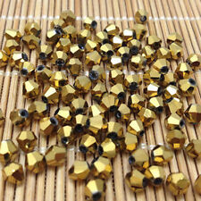 100pcs golden 4MM 5301#glitter Crystals luster delicateness Bicone Loose~