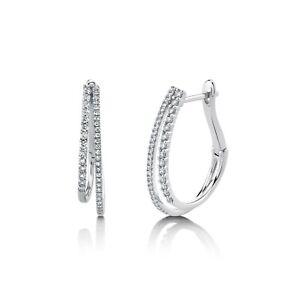 "Diamond Double Hoop Earrings 14k White Gold Natural 0.70"" Twin Drop 0.44ct F VS2"