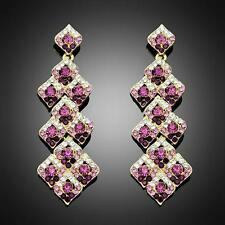 Long Fashion Women Hot Purple Red Crystal Rhinestone Wedding Bridal Stud Earring