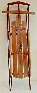 Vintage FLEXIBLE FLYER III Wooden Metal Sled Winter Snow Decor Eagle Decal 55''
