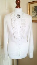 TOMMY HILFIGER White Cotton Ruffle Front Shirt Blouse FR34 UK6 Fabulous!
