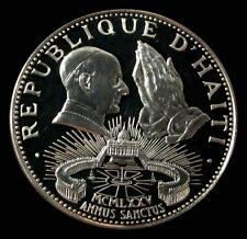 1974 SILVER HAITI 960 MINTED PROOF 50 GOURDES POPE PAUL IN ST PETERS SQUARE