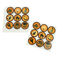 90Pcs Halloween Paper Stickers Pumpkin Gift Bag Labels Candy Packaging Tags YK
