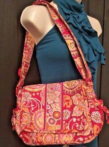 Vera Bradley Paisley Floral Pink Messenger Style Bag Purse Handbag Tote  #220