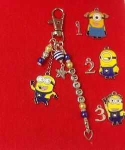 Handcrafted DESPICABLE ME Personalised MINION Beaded HandBag Charm/Key Ring