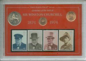 Sir Winston Churchill Centenary of Birth 1874-1974 Memorial Coin Stamp Gift Set