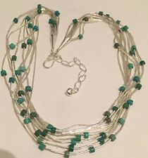 Jay King Liquid Silver 10 Strand Blue Green Turquoise Sterling Necklace NIB