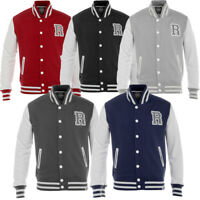 Mens Raiken Letterman R Varsity Baseball Bomber Fleece Jacket Top Size