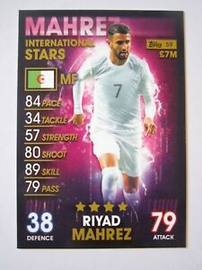 Match Attax 101 - base card Riyad Mahrez of Algeria International Stars