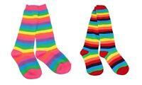 Kids Girls Rainbow Striped Knee High Dancing Fancy Costume Party Socks Age 3-10