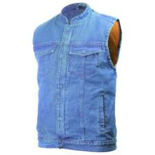 MENS MOTORCYCLE SNAPS ZIPPERED DENIM BLUE VEST CONCEALED CARRY