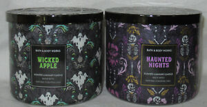 Bath & Body Works 3-wick Candle Lot of 2 Halloween HAUNTED NIGHTS & WICKED APPLE