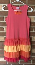 Hanna Andersson 160 Girls 14 16 Ruffle Tier Tank Dress in Pinks Oranges
