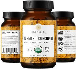 Truvani Organic Turmeric Curcumin Anti Inflammatory Joint Support 90ct EXP 01/23