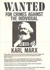"VINTAGE Karl Marx Wanted Socialism Marxism PROPOGANDA POSTER/Paper 8.5"" x 14"""