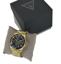 Guess Men's Chaser Watch Gold Tone Blue Dial Day Date W0172G5 RRP £179