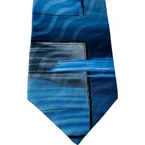 Murano Men's Neck Tie Blue Navy Gray Squares Swipes 100% Imported Silk USA Made