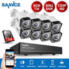 SANNCE 1080N 8CH DVR 1500TVL CCTV IR-Cut IP66 Home Security Camera System 1TB