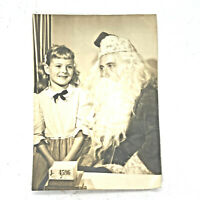 Photo Photograph 5x7 1950s Santa Girl Department Store Vintage B&W Black & White