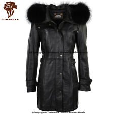 Lionstar Stylish Hoodie Top Quality Winter Warm Real Leather Ladies Coat Wth Fur