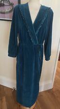Vtg Velour Teal Dressing Gown Robe House Coat M L Boudoir Sissy Pinup Littlewood