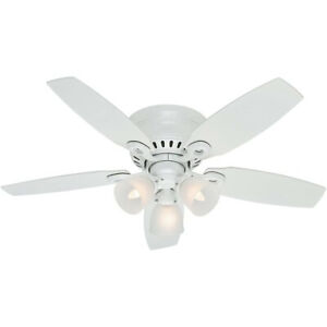 """Hunter Hatherton 46"""" Low Profile Ceiling Fan w/ LED Lights and Pull Chain, White"""