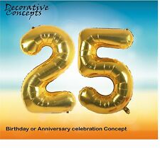 """Giant 25th Birthday Party 40"""" Foil Balloon Helium Air Decoration Age 25 GOLD"""