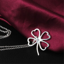 New Hollow Clover Pendant Necklace Sterling Jewelry Women Silver Christmas Gift