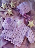 "Baby girl's lacy frilled cardigan & bonnet  KNITTING PATTERN 16"" - 26"" DK 1107"