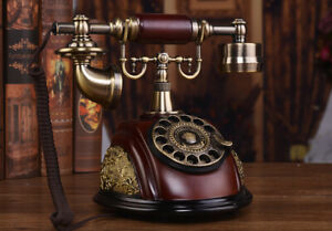 Resin imitation copper Retro old fashioned Rotaring Dial Telephone office Home