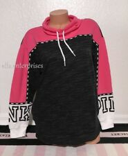 Victoria's Secret Pink Capri Pink Black Marl White Campus Cowl Neck Pullover - S