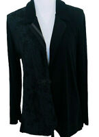 Chicos Travelers 3 Lace Detail Blazer Jacket Black Single Button Long Sleeve XL