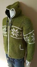 Nepal Vintage Cowichican Green Wool Cardigan Jacket Sweater Mens Large 38 40