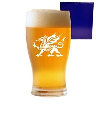 1 Pint Tulip Beer Glass With Welsh Dragon Design and Gift Box