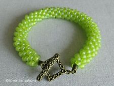 Frosted Bright Lime Apple Green Unique Kumihimo Seed Bead Fashion Bracelet Gift
