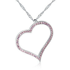925 Sterling Silver Heart Pendant with Pink CZ '16 - 20 inch Singapore Chain