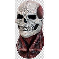 Skull with Flesh Full Head and Neck Latex Mask Fancy Dress Halloween