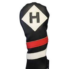 Majek Retro Golf Hybrid Headcover Black Red White Vintage Leather Style