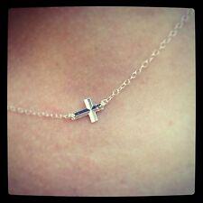SALE!Sterling Silver Sideways Cross Necklace Trendy, Celebrity Style Tiny/Petite