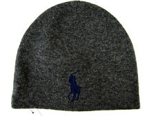Polo Ralph Lauren Gray Big Polo Pony Wool Hat Cap Navy Big Pony NWT