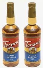 2 TORANI CLASSIC HAZELNUT SYRUP FOR COFFEE 1 LITER (33.8 FL OZ) EXPIRES MAY 2021