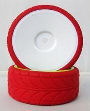 Coppia Ruote Rosse Turismo con cerchio Bianco 63mmx26mm Per Auto 1:10