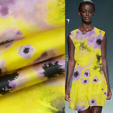 Smudge purple floral print on yellow 100% silk satin Charmeuse fabric,SSC058