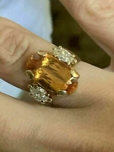Vintage 4.Ct Oval Yellow Citrine & Marquise Diamond 14K Yellow Gold Finish Ring
