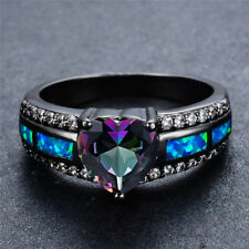 New Size 5-11 Blue Opal 3 Color Heart CZ Black Gold Filled Ring Women's Jewelry