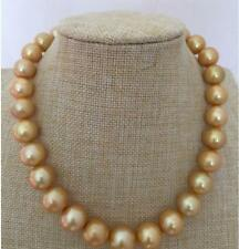 GORGEOUS HUGE 13-15MM SOUTH SEA ROUND GOLD PEARL NECKLACE 18INCH 14K GP