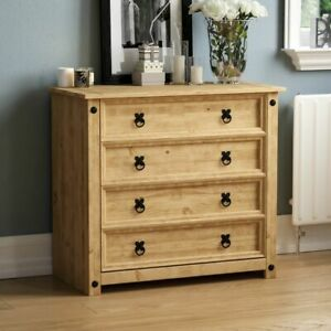 Corona 4 Drawer Chest Distressed Rustic Waxed Pine Bedroom Storage Furniture