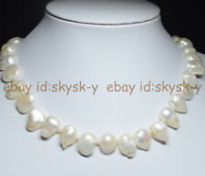 """REAL PEARL RARE WHITE TEARDROP BAROQUE CULTURED PEARL 13X18MM NECKLACE 18"""""""