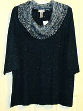 WOMENS CATHERINES 3X GREEN MET 3/4 SWEATER COWL NECK TUNIC NWT SPARKLY ONLY 1!