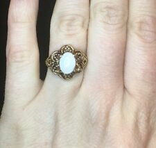 Sterling Silver ESPO Gold Plated Ring Opal White Stone Flower Setting Size 5